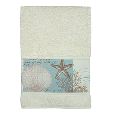 "Bacova Guild ""Coastal Moonlight Cotton Terry Bath Towel - Heat transfer print on cotton terry Machine washable Features shell pattern - bathroom-linens, bathroom, bath-towels - 41bHmWb43GL. SS400  -"