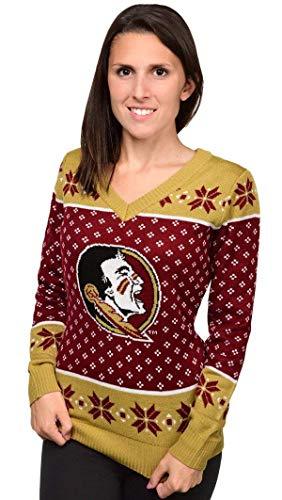 FOCO NCAA Women's Big Logo V-Neck Sweater, Florida State Seminoles Medium