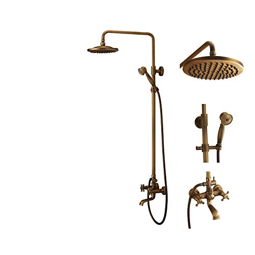 (Bath Shower Faucet Set Complete Antique Brass Finish Wall Mount with 8