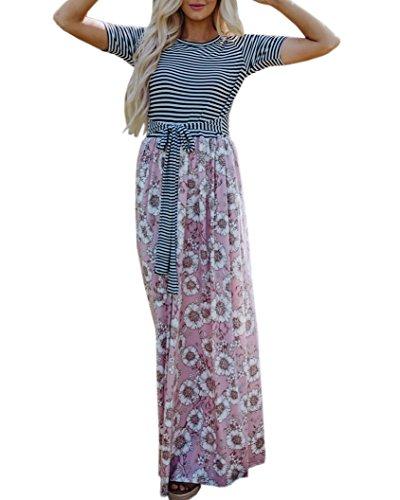Abninigee Womens Tie Wasit Chiffon Boho Floral Striped Knot Maxi Dress with Pockets ()