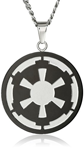 Star Wars Jewelry Men's Imperial Symbol Front with Etched Death Star at The Back Pendant Necklace, 22