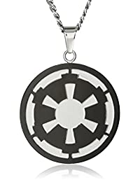 Star Wars Jewelry Men's Imperial Symbol Front with Etched Death Star at The Back Pendant Necklace, 22""