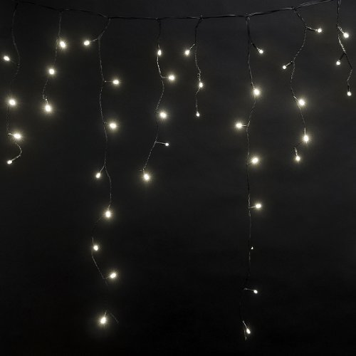 bc1fec59d90 Tenia - Cortina Cascada de luces LED carámbano Iluminación navideña 4m  Blanco Cálido 192 microbombillas LED 4 12 W Para interior y exterior   Amazon.es  ...