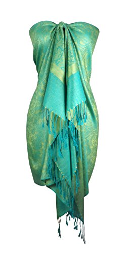 Peach Couture Elegant Vintage Two Color Jacquard Paisley Pashmina Shawl Wrap (Lime Green and - Jacquard Wrap