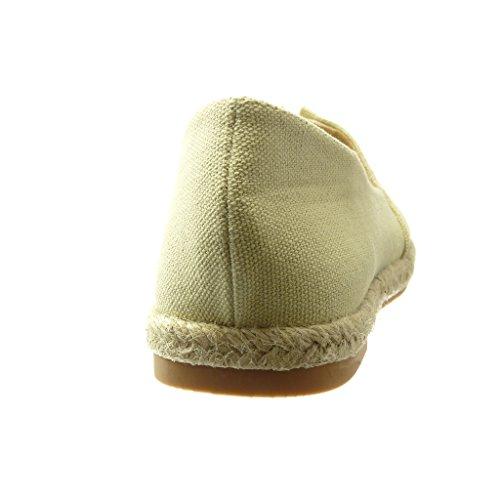 Ricamo 0 Corda Tacco Tacco Angkorly Scarpe Moda Donna Slip Beige Espadrillas cm Piatto Mocassini On 8pq07w8