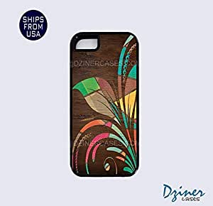 iPhone 5 5s Tough Case - Colorful Wood Flower iPhone Cover (NOT REAL WOOD)