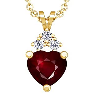 18K Yellow Gold Heart Cut Ruby And Round Diamond Pendant (GIA Certificate)