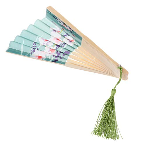 Agordo Chinese Japanese Silk Flower Hand Fan Folding Pocket Fan Wedding Party Favor |Color - Light Green