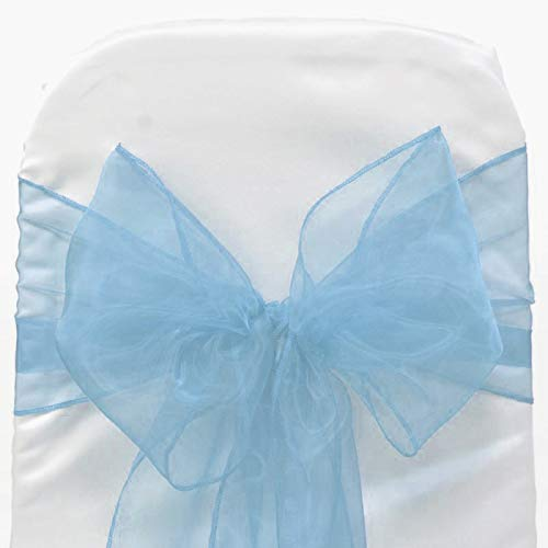 (VDS - 175 PCS Elegant Organza Wedding Chair Sashes/Bows for Wedding Party Banquet Decor - Ribbon Tie Back Sash Bow - Baby Blue)