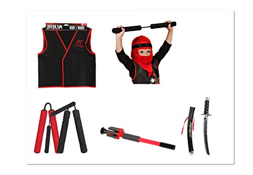 [Child Ninja Costume ~ Includes: Nun Chucks, Sword, Blow Dart Set, Vest and Hood] (Child Nun Costumes)