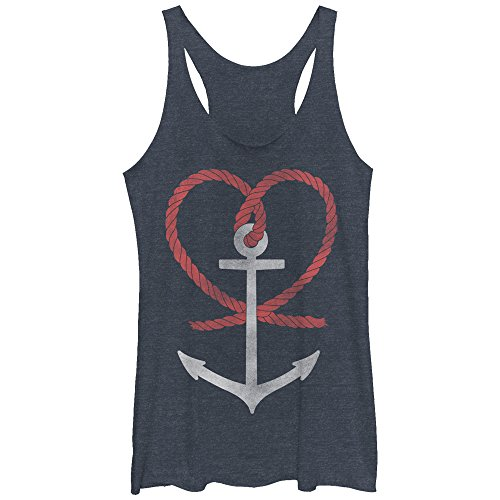 Women's Fourth of July Anchor Heart Navy Blue Heather Racerback Tank Top