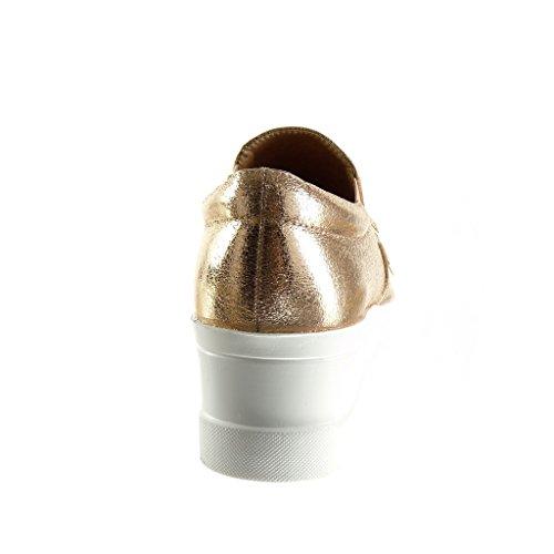 Angkorly - damen Schuhe Mokassin - Slip-On - Plateauschuhe - Franse - Patent Keilabsatz high heel 5.5 CM - Champagner