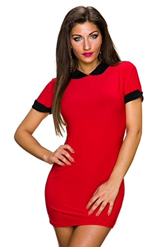 Fashion - Vestido - Noche - Básico - Manga corta - para mujer Rojo