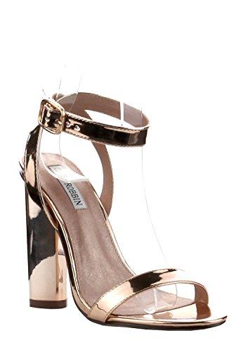 Scarpe Da Donna Con Cinturino In Smalto Lucido Con Cinturino Alla Caviglia, Scarpe Da Sposa Connie-2 Oro Rosa