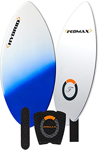 Fedmax Fiberglass Skimboard | Choose Size/Color | Includes Traction | Tips and Tricks Guide | Great Skim Board for Kids/Adults