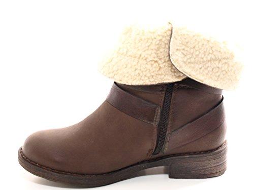 Chice-Schuhe Damen Stiefel warm gefütterte Stiefeletten Boots Braun # 051