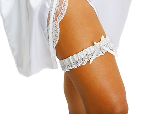 LR Bridal Ivory Bridal Garter with Rhinestone Satin Bow and lace