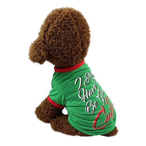 Euone  Pet Clothes Clearance ,Christmas Letters Printed Dog Clothing Polyester T Shirt Puppy Costume Apparel (S, Green)]()