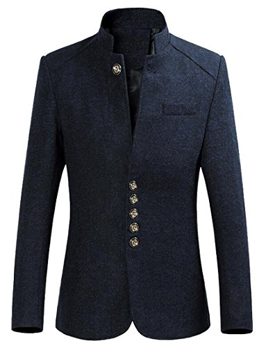 Oberora Mens Vintage Chinese Tunic Suit Stand Collar Slimming Lazer Suit Coat Outerwear Navy Blue M