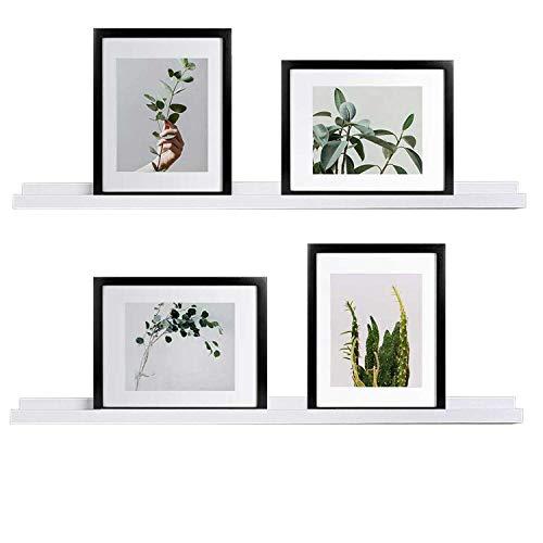 WELLAND Vista Picture Ledge Floating Ledge Wall Shelves, 36-inch, Set of 2, White