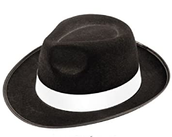 Adult black gangster hat felt trilby Fedora Al Capone fancy dress ... 2eb215582af
