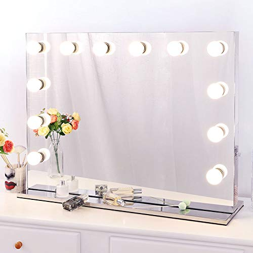 Chende Vanity Mirror with Light Hollywood Makeup Mirror Lighted Mirror + Free LED Bulbs (8065) (Broadway Lighted Vanity Makeup Mirror & Desk Set)