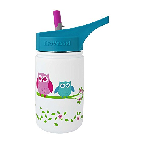 EcoVessel SCOUT Kids Stainless Steel Water Bottle with Flip Straw - 13 ounces - White with Owls