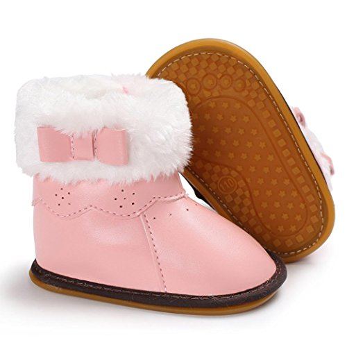 Igemy 1 Paar Baby Leder Bowknot Gummi Soft Sole Snow Stiefel Soft Crib Schuhe Kleinkind Stiefel Rosa
