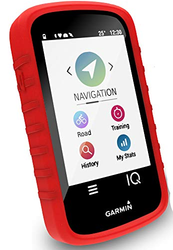 (Tuff-luv Silicone Gel Skin Case Cover for Garmin Edge Explore (with Screen Protection) - Red)