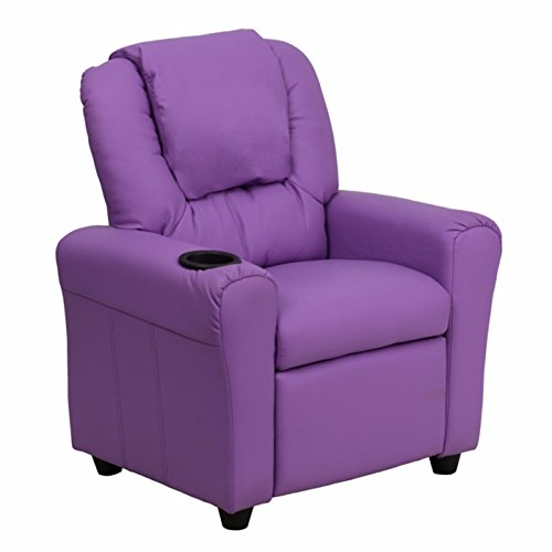 Winston Direct Kids Series Contemporary Vinyl Recliner with Cup Holder and Headrest - Lavender by Winston Direct