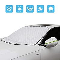 Feiboo Large Size Car Windshield Snow Ice Cover with Magnetic Edge + 2pcs Rearview Mirror Protectors for Cars SUV, Truck, Van