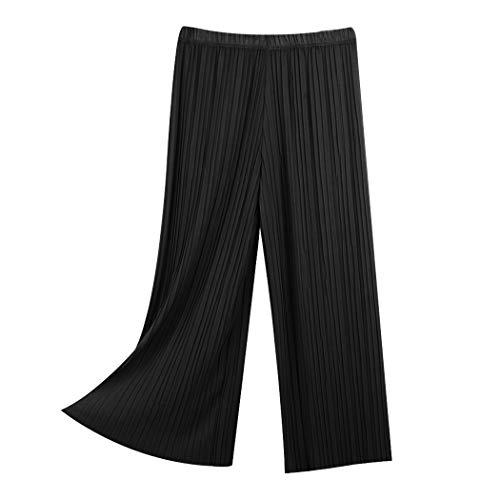 mioim Pantalon Femme Pantalon Large Pantalon Jupe Jupe Couleur Unie Pantalon Dcontract Noir