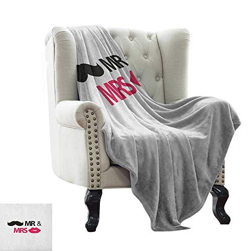 BelleAckerman Children's Blanket Wedding,Funny Stencil Art Lips Moustache Mr and Mrs Retro Stylized Design Art Print, Black Pink White All Season Light Weight Living Room/Bedroom 30