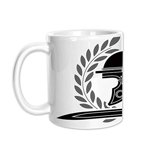 (Toga Party Stylish White Printed Mug,Roman Helmet with Sword and Olive Branches Ancient Mediterranean Empire Icons Decorative for Living Room Bedroom,3.1