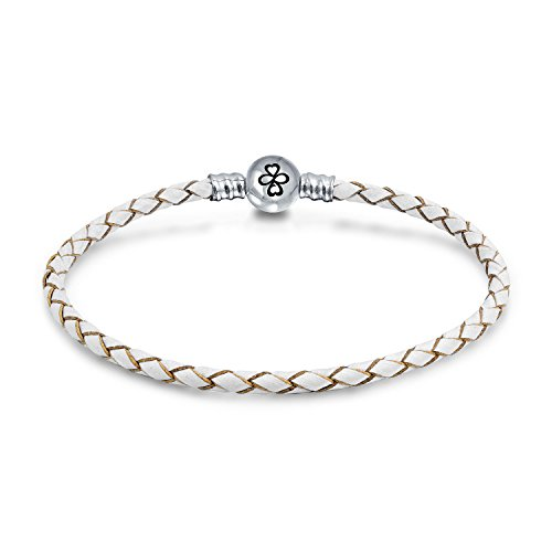 Engraved Ayllu Symbol Braid Genuine White Leather Bracelet For Charms 925 Sterling Silver Round Barrel Clasp 7 Inch