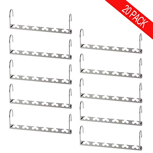 Bloberey Space Saving Hangers Metal Wonder Magic Cascading Hanger 10 Inch 6 x 2 Slots Closet Clothing Hanger Organizers(Pack of ()