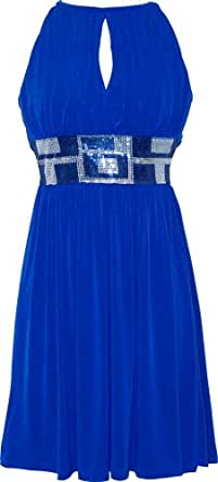 Stretch Jersey Knee-length Party Cocktail Dress Sequin Trim, Large, Blue