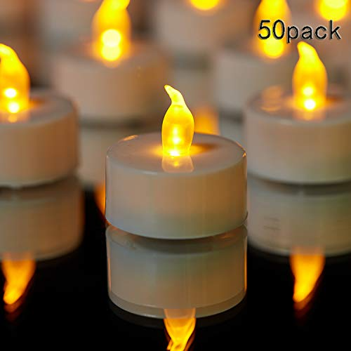 (TEECOO Tea Lights, Flickering LED Tea Light Candles Flameless Candles LED Candles Φ3.4 x H3.6 50-Pack Battery Powered 100+ Hours(Warm)