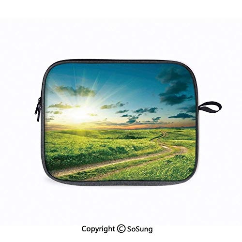 14inch Laptop Sleeve,Vivid Summer Lanscape with a Dramatic Rural Road and Sky Print Deco Home Messenger Bag hinkPad A485 E485 E490 T480s/HP ProBook 645 G4 (Dell Docking Station Usb 3-0 D3100 Review)