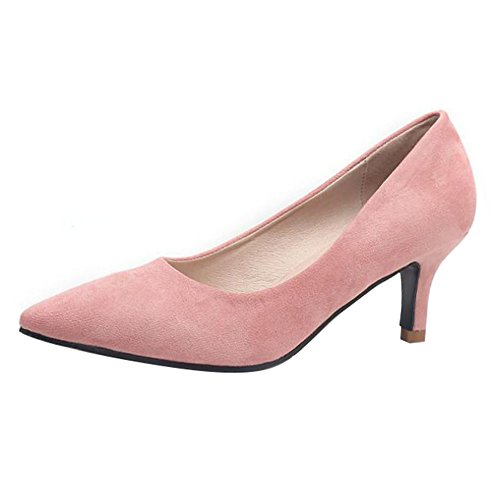 Women Low High Heel Court Shoes Comfort Work Office Formal Wedding Pointed Toe Slip On Court Shoes Pink 0IrSTAqFh