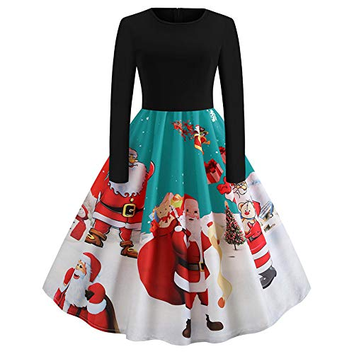 Christmas Evening Party Dress Women's Long Sleeve O Neck Printing Vintage Gown Dress