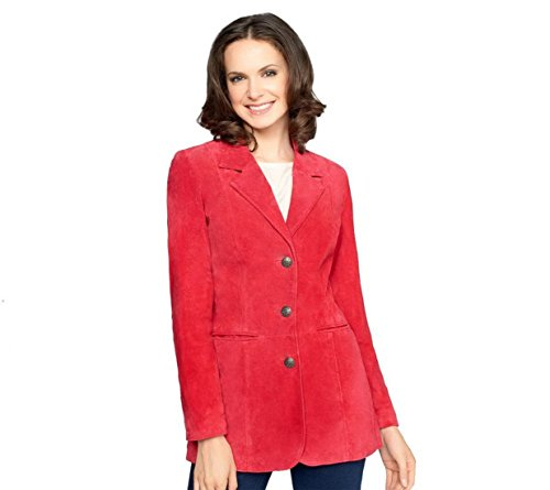 Denim & CO Washable Suede Buttons Jacket Front Pockets Raspberry XXS New A226384 (Suede Washable Button)