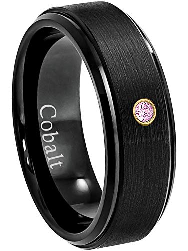 - Jewelry Avalanche 8MM Comfort Fit Brushed Black Ion Stepped Edge Men's Cobalt Chrome Wedding Band - 0.07ct Pink Tourmaline Cobalt Ring - October Birthstone Ring -12.5