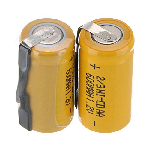 WindMax® US SELLER 2 pcs Ni-CD 1.2V 2/3AA 600mAh Rechargeable Battery NICD Batteries For Phone ()