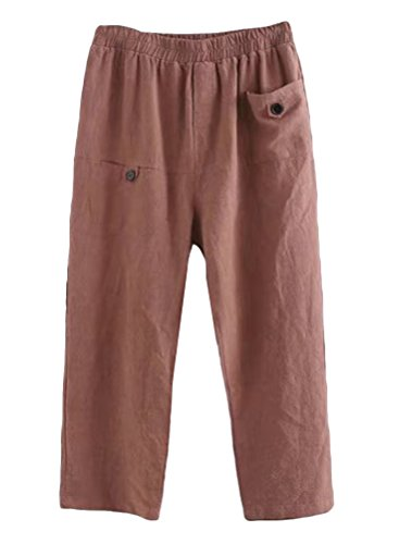 Minibee Women's Elastic Waist Casual Crop Linen Pull On Pants Wine M