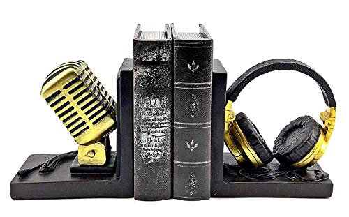 Bellaa 24353 Radio Bookends Headphone Microphone 6 Inch