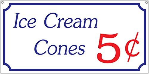 Ice Cream Cones 5c- 6x12 Aluminum Vintage Concessions Carnival Park Fair sign