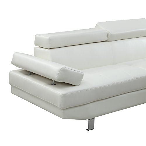 Poundex 2 pieces faux leather sectional right chaise sofa for Poundex white faux leather modern sectional sofa