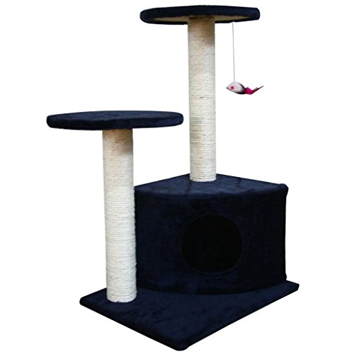 Cheap vidaXL Cat Tree 28″ Dark Blue Plush Tower Condo Scratcher Pet Furniture Kitten House
