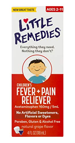 Little Remedies Children's Fever & Pain Reliever | Natural Grape Flavor | 4 FL OZ